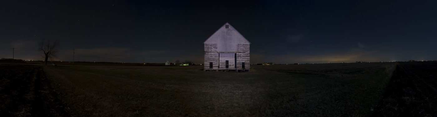 Corncrib at night