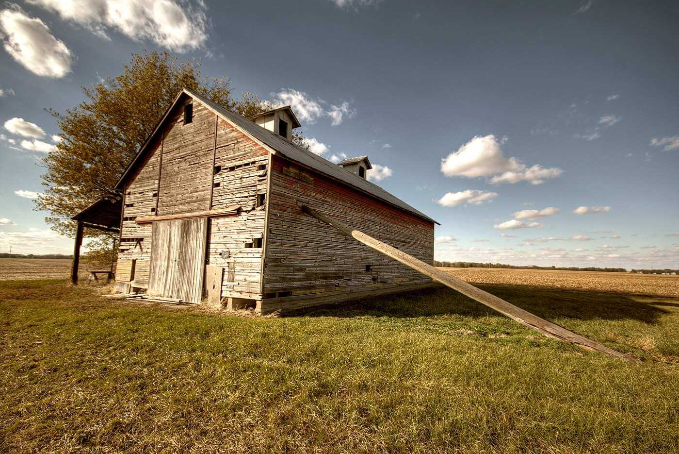 Propped barn